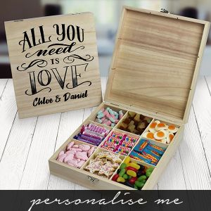 All you need is Love' Wooden Sweet Box - 9 Compartment