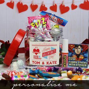Be My Valentine Taster Sweet Jar full - personalise me