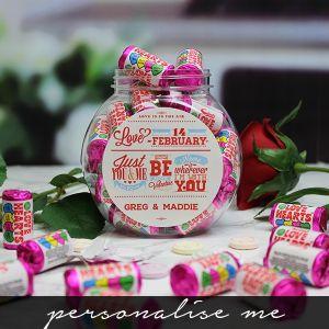 Be My Valentine Love Hearts Sweet Jar - Personalise me