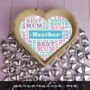 Best Mum - Chocolate Heart Tray - Large