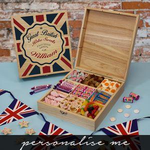 Great British Retro Sweets Box. Lifestyle Photo