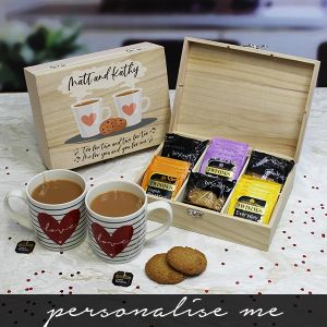 Tea for Two 6 Compartment Storage Box - Tea and Biscuits